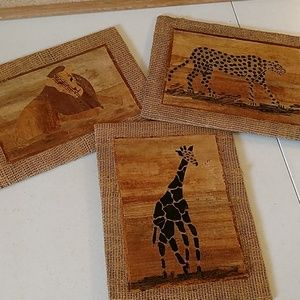 Vintage set of Safari animal print pictures